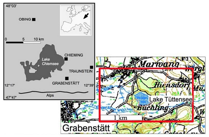 Chiemgau Impakt Tüttensee Krater Gravimetrie Lageplan