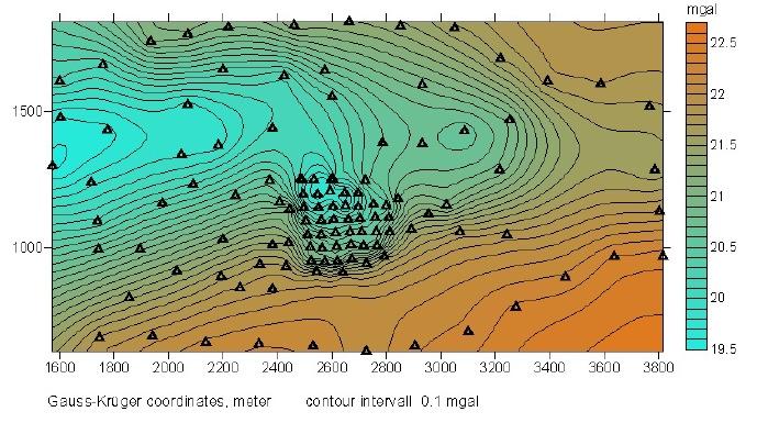 Tüttensee Meteoritenkrater Gravimetrie Bouguer-Anomalien