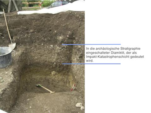Archäologische Ausgrabung Chieming Stöttham Katastrophenschicht Impaktschicht