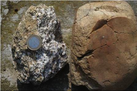 Archäologische Ausgrabung Chieming Stöttham Diamiktit zersetzter Gneis Bronzeglimmer zerbrochener kohärenter Quarzit