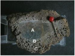 Archäologische Ausgrabung Chieming Stöttham Diamiktit Brekzie angeschmolzener Kieselkalk