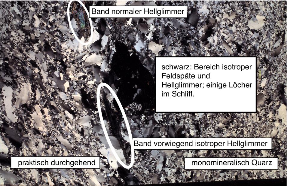 Chiemgau Impakt Dünnschliff diaplektisches Glas, Schock in Krater 001