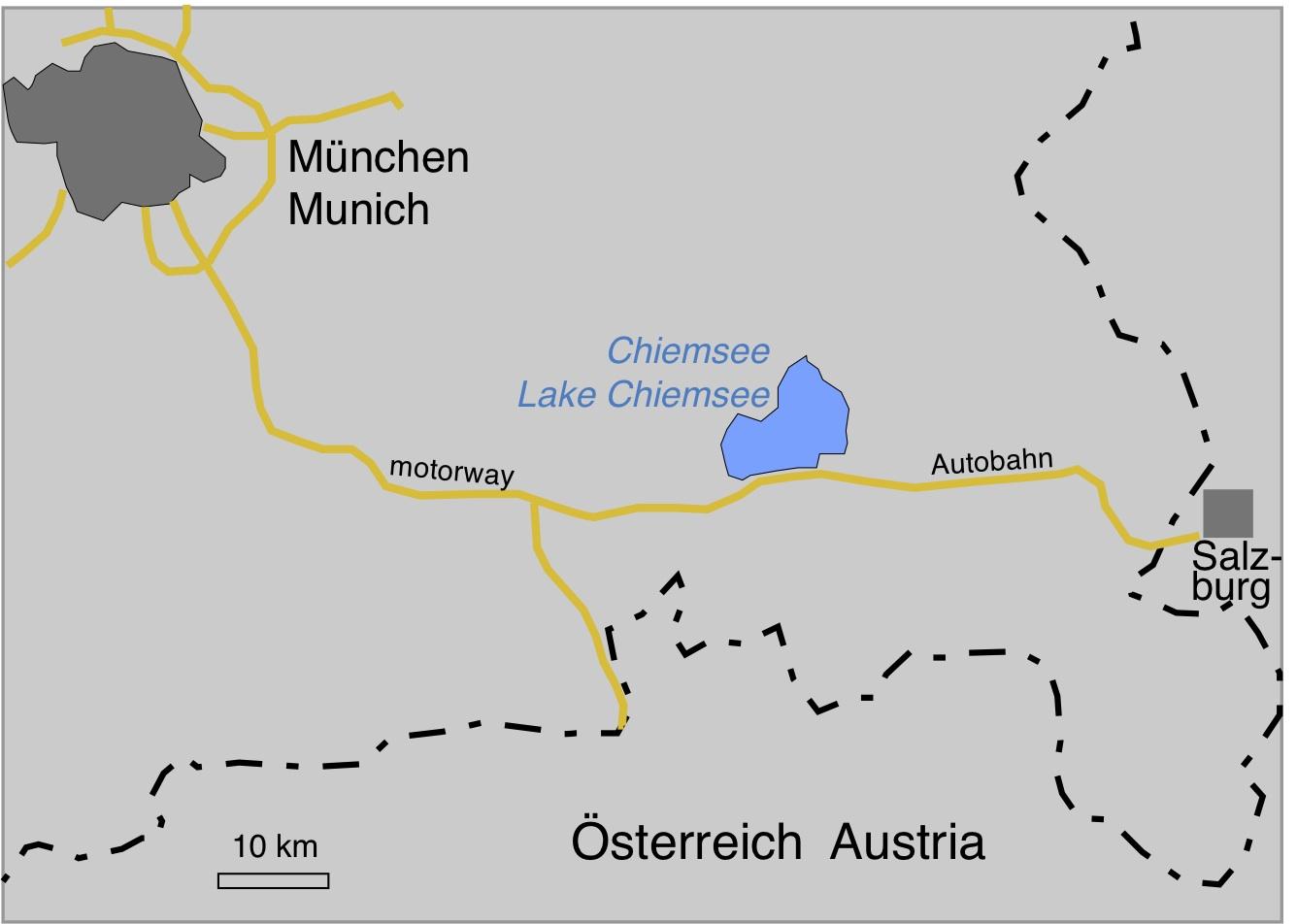 Karte Südostbayern mit Chiemsee, Doppelkrater Chiemgau-Einchlag karte