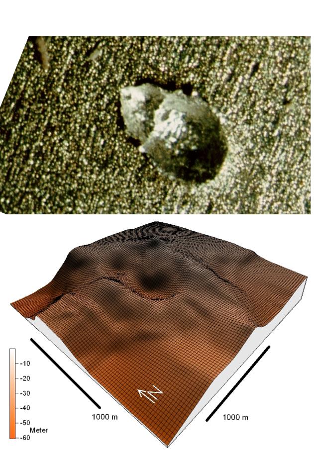 Vergleich Doppelkrater Experiment und am Boden vom Chiemsee, Chiemgau-Einschlag