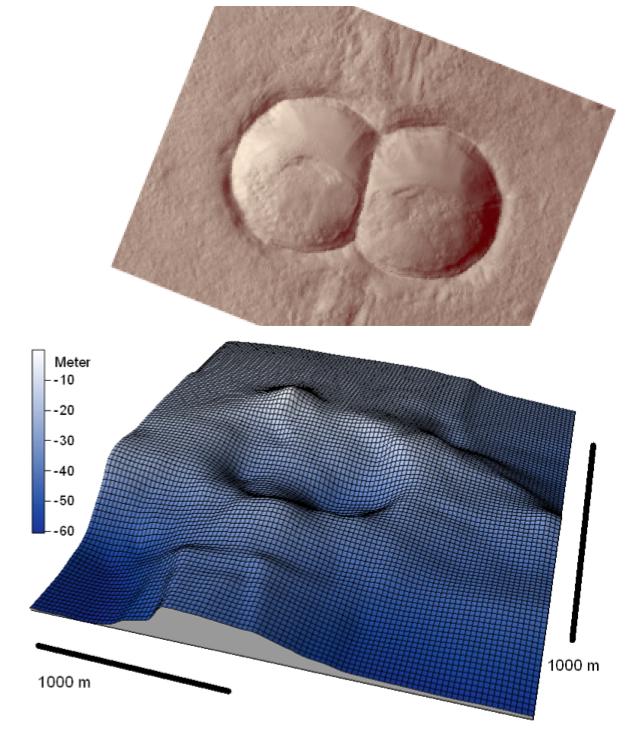 Vergleich Doppelkrater auf Mars und am Boden vom Chiemsee, Chiemgau-Einschlag