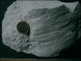 nicht mit shatter cones verwechseln: Striemungen im Gestein
