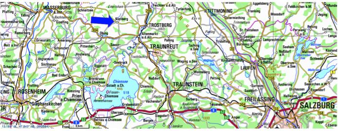 topographische Karte Chiemgau mit Kienberg