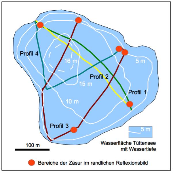Seismik Tüttensee-Krater randliche Abbrüche von Reflexionshorizonten