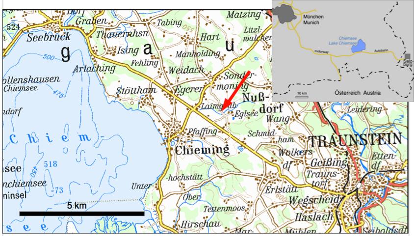 Lageplan Chiemsee Eglsee Tsunami-Aufschluss