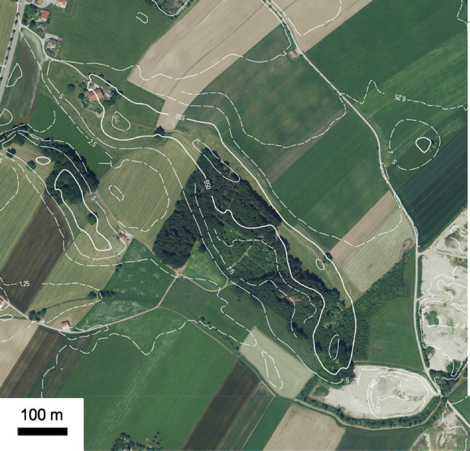 Chiemsee Luftbild Tsunami-Aufschluss Chiemgau-Impakt
