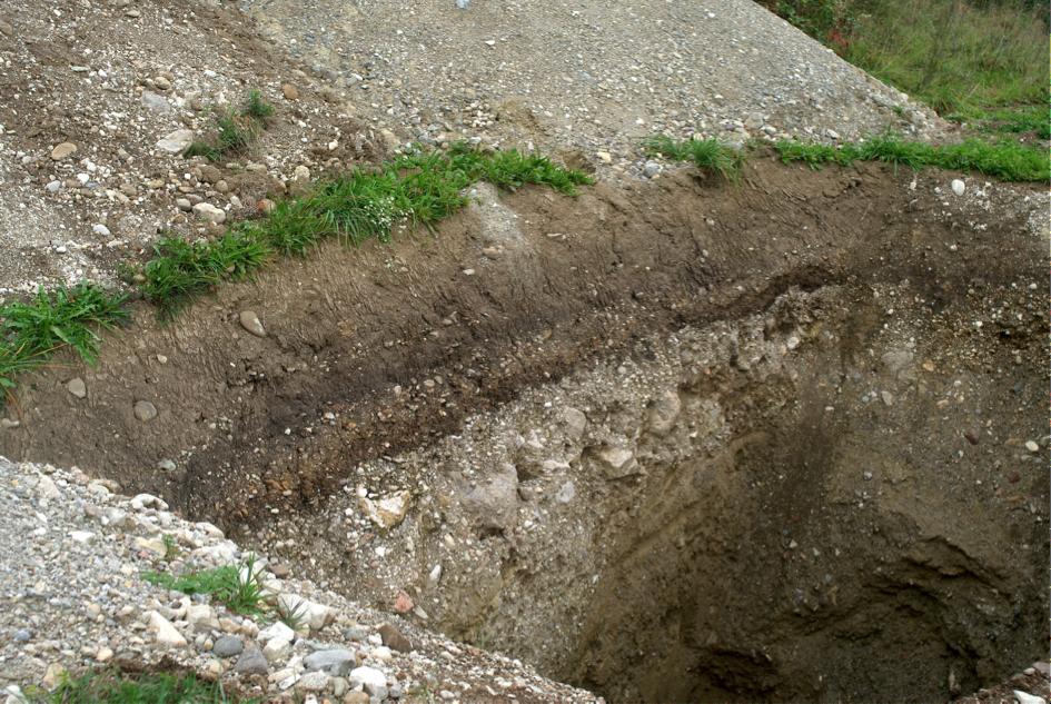 Kreuzschichtung mit Block-Horizont Tsunami-Ablagerung Chiemsee