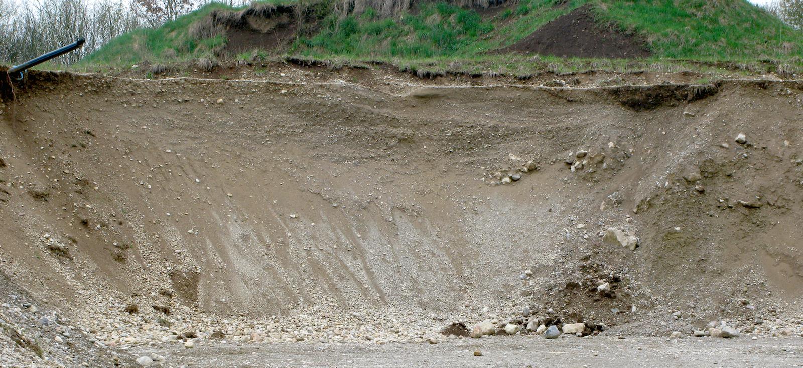 Chiemgau Impakt Tsunami Eglsee Kiesgrube Kreuzschichtung