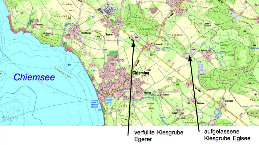 Lageplan Chiemsee Tsunami Egerer Eglsee