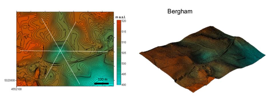 Chiemgau Impakt Krater Bergham DGM 1 Topographie