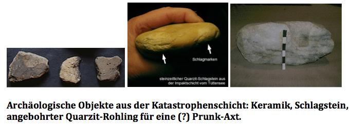 Steinzeit- und Bronzezeit-Artefakte aus der Katastrophenschicht vom Tüttensee-Krater,
